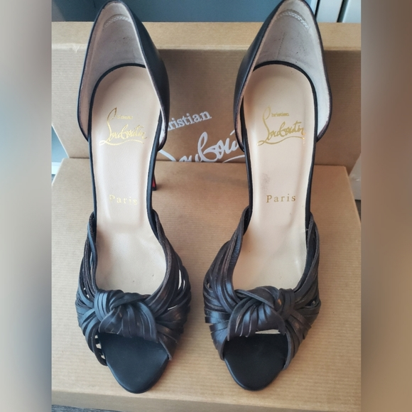 Christian Louboutins Knotted Brown Leather Heels